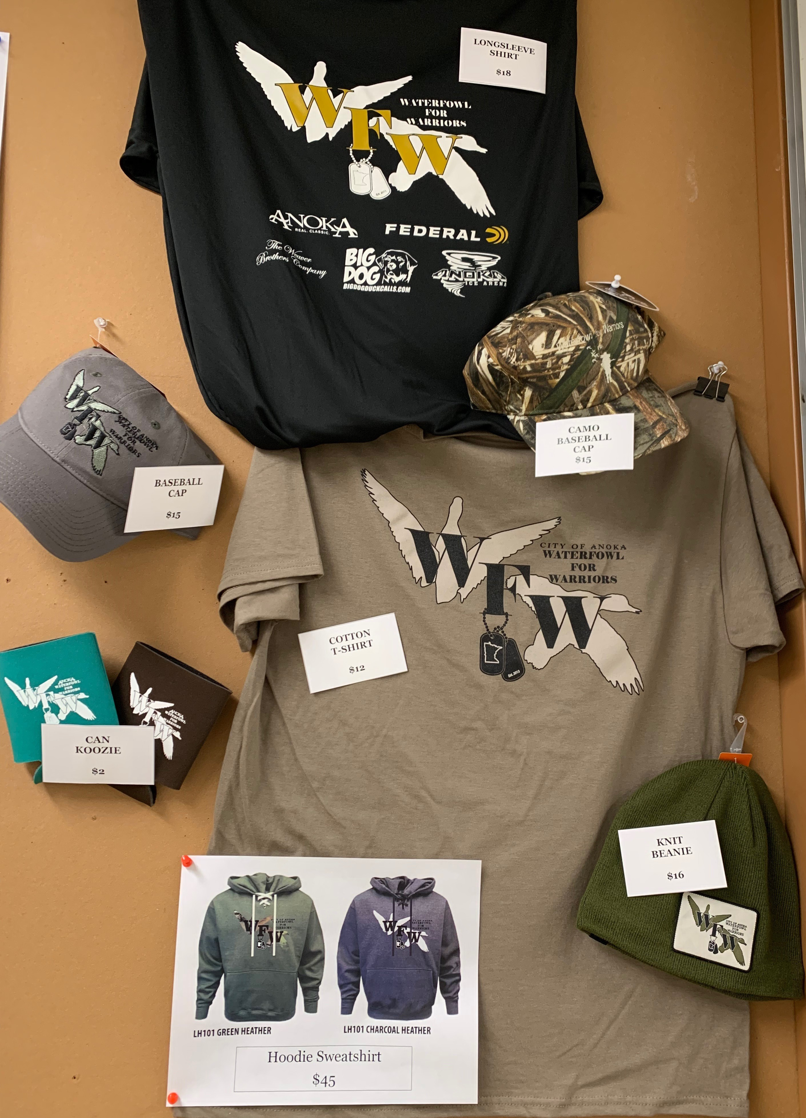 Various Waterfowl for Warriors Merchandise Including Hats, Shirts, and Hoodies